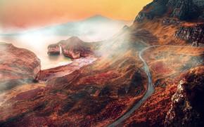 Picture road, sea, autumn, fog, rock, arch