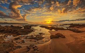 Picture sunset, coast, Greece, Skafidhia