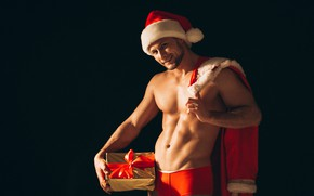 Picture sexy, tape, gifts, New year, male, Santa Claus, Santa Claus, Happy New Year, Christmas, New …