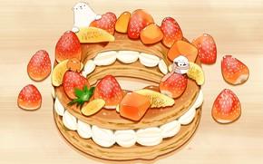 Picture strawberry, penguin, birds, polar bear, cream, dessert, cake, lemon slices