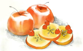 Picture birds, on the table, red apples, slices of Apple, by drawing chisanne