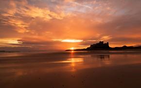 Picture sea, the sky, the sun, clouds, sunset, castle, shore, the evening, silhouette, Cape