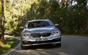 Picture road, trees, grey, BMW, sedan, front view, hybrid, 5, four-door, 2017, 5-series, G30, 530e iPerformance