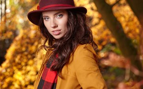 Picture hat, look, girl, photo, autumn
