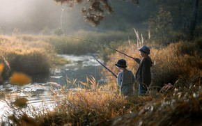 Picture river, fishing, boys