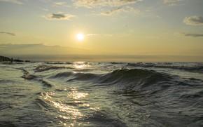 Picture sea, wave, the sky, the sun