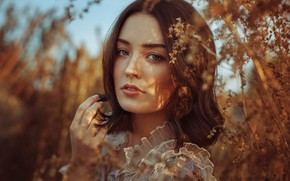 Picture look, the sun, branches, nature, pose, model, portrait, makeup, hairstyle, brown hair, beauty, bokeh, Anne …
