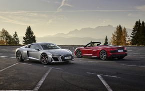 Picture sunset, mountains, Audi, the evening, pair, Parking, Audi R8, Coupe, Spyder, V10, 2020, RWD