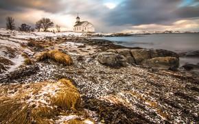 Picture winter, snow, shore, Norway, Church, pond, Lofoten