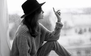 Picture look, girl, pose, room, rain, window, black and white, sweater, Alexander Aksenteva