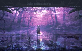 Picture forest, water, girl, chain, lantern, by Lifeline