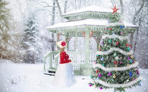 Picture winter, snow, decoration, tree, girl, New year, Christmas, New Year