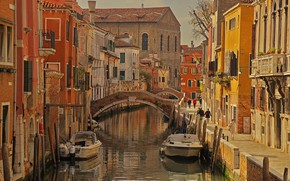 Picture boat, home, Italy, Venice, channel