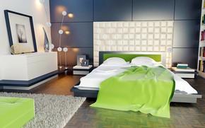 Picture design, room, bed, interior, carpet, lamp, bedroom