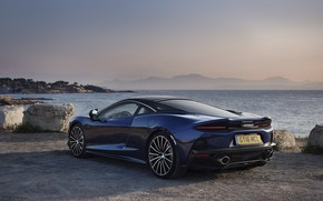 Picture sunset, coast, McLaren, the evening, supercar, 2019, McLaren GT