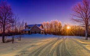 Picture the sun, snow, trees, landscape, house, Canada, New Brunswick, New Brunswick