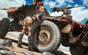 Wallpaper tattoo, machine, Apocalyptic, girl, art, Mohawk, pin up, weapons, Apocalypse, look, pose