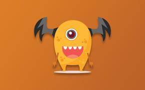 Picture Monster, minimalism, cartoon, funny, digital art, artwork, simple background, orange background