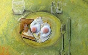 Picture figure, eggs, humor, toast