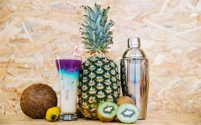 Picture glass, background, coconut, kiwi, cocktail, tube, fruit, pineapple, banana, bokeh