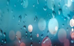 Picture glass, water, drops, glass, water, background, bokeh, bokeh, drops