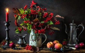 Picture berries, candle, pitcher, still life, peaches, bunches, candle holder, Kalina, bunches, coffee pot