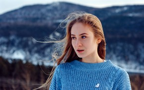 Picture nature, background, model, portrait, makeup, hairstyle, brown hair, bokeh, blue, Snezhana, dinner, Sergey Sitnikov