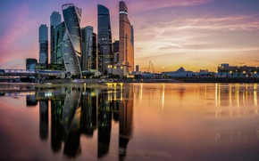 Picture sunset, reflection, river, building, Moscow, Russia, skyscrapers, Moscow-City, The Moscow river, Presnenskaya Naberezhnaya
