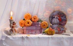 Picture flowers, table, roses, candle, angel, knife, plates, fruit, still life, pear, box, Valentina Fencing