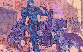 Picture Robot, Robots, Police, People, Motorcycle, Attack, Fantasy, Art, Art, Robot, Robots, Fiction, Cyborg, Transport, Sci-Fi, …