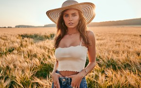 Picture girl, field, hat, photo, photographer, blue eyes, model, blonde, portrait, tank top, looking at camera, …