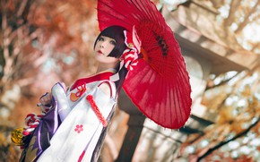 Picture autumn, look, girl, nature, face, pose, style, background, foliage, umbrella, makeup, brunette, costume, outfit, image, …