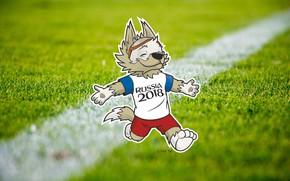 Wallpaper Sport, Football, Wolf, Russia, 2018, FIFA, FIFA, World Cup 2018, Mascot, Zabijaka, Talisman, The world ...