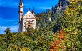 Picture autumn, forest, rock, castle, Germany, Bayern, Germany, Bavaria, Neuschwanstein Castle, Neuschwanstein Castle, Schwangau, Schwangau