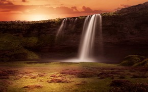 Picture landscape, sunset, nature, rendering, rocks, waterfall, stream, Iceland, photoart
