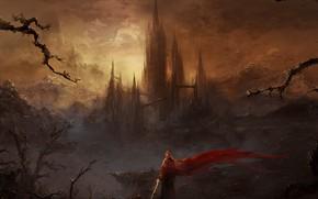 Picture sword, fantasy, weapon, Warrior, mountains, sunrise, coat, castle, artwork, fantasy art, hood, fantasy castle, fantasy …