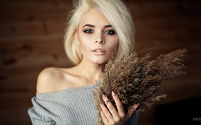 Picture look, pose, background, model, portrait, makeup, hairstyle, blonde, beauty, a bunch, bokeh, Kristina, Anton Parshunas, …