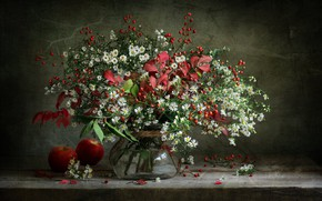 Picture leaves, berries, apples, chamomile, bouquet