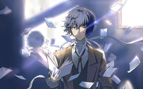 Picture strokes, Bungou Stray Dogs, Sheets of paper, Stray Dogs: A Literary Genius, Dazai Osamu
