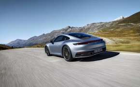 Picture the sky, asphalt, coupe, speed, 911, Porsche, Carrera 4S, 992, 2019