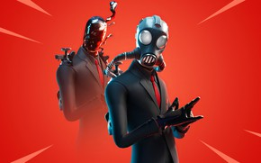 Picture gas mask, red background, Fortnite