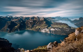 Picture the sky, clouds, mountains, lake, stones, open, rocks, hills, view, height, dal, valley, slope, hill, …