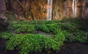 Picture grass, mountains, waterfall, Croatia, Lika-Senj, Plitvica