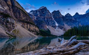 Picture forest, the sky, trees, mountains, lake, stones, rocks, the moon, shore, the evening, Canada, Banff …