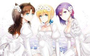 Picture girls, bride, Tohsaka Rin, the saber, Artoria Pendragon, Fate stay night, Fate / Stay Night, …