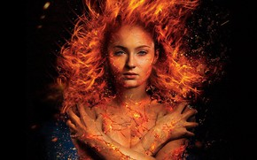 Wallpaper Fire, Face, Body, Hair, lips, Eyes, Movie, Nose, The film, Red, Jean Grey, Sophie Turner, ...