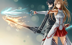 Picture girl, weapons, anime, art, guy, swords, Sword art online, Sword Art Online, Asuna, Kirito, swordsmen