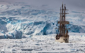Picture ship, sailboat, ice, Antarctica