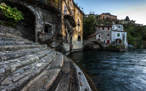Picture trees, bridge, lake, shore, home, Italy, ladder, stage, Nesso