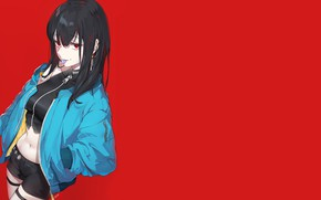 Picture girl, jacket, red background